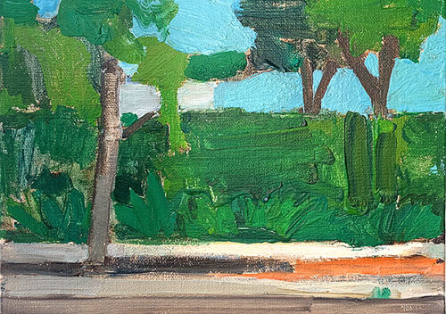 San Diego landscape painting of trees and landscaping by Kevin Inman