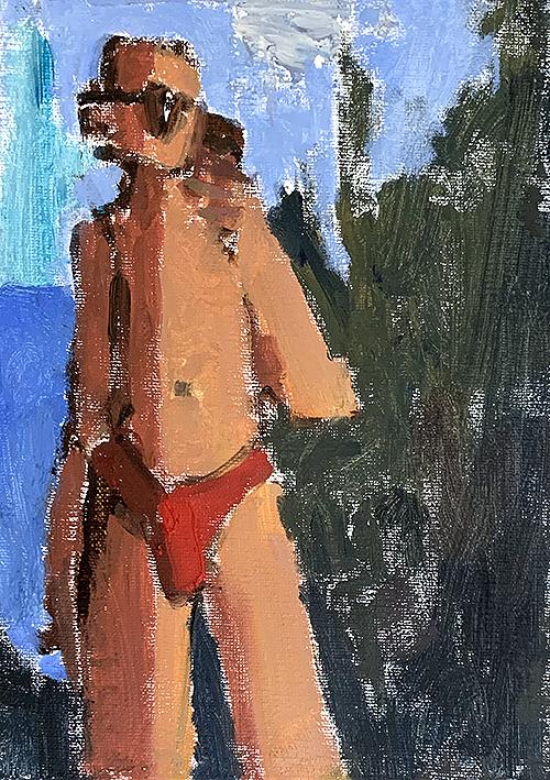 Oil painting of man in speedo selfie