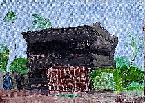 Original oil painting of termite tented building in San Diego
