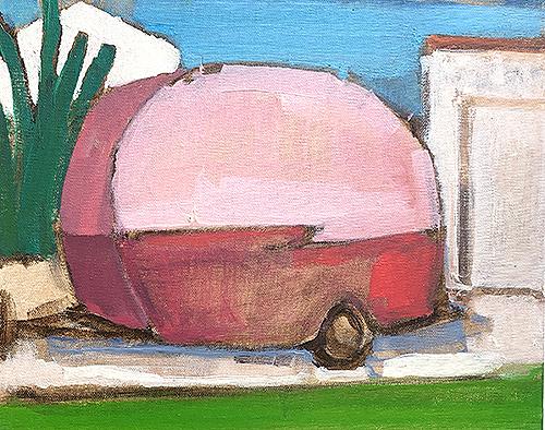 Painting Pink Glamping Camper