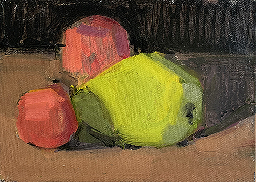 Still life painting of apples and pears by Kevin Inman