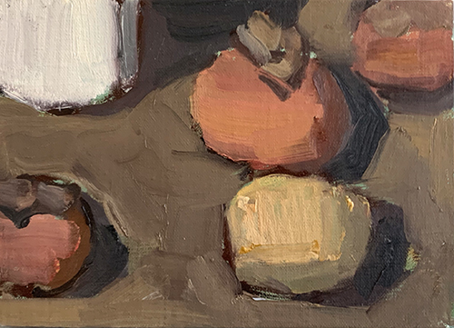 Still life of persimmons and potato